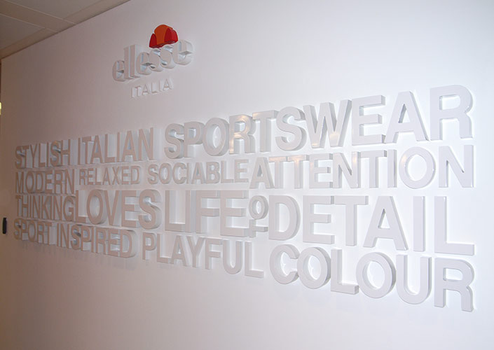 ellesse 3d values wall branding and graphics