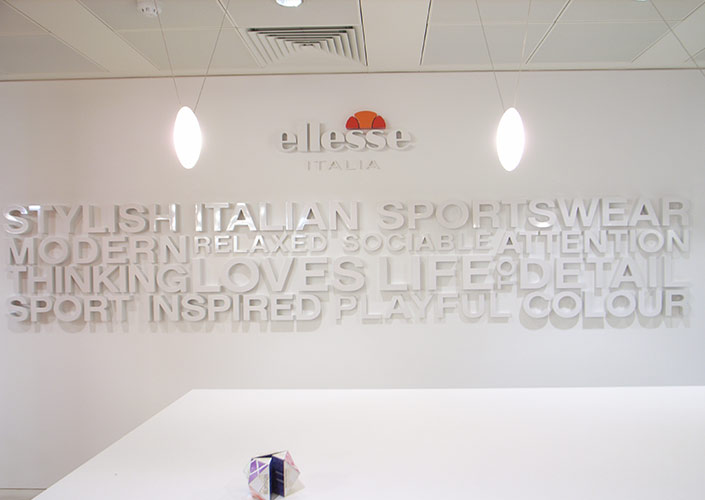 Ellesse head office branding wall