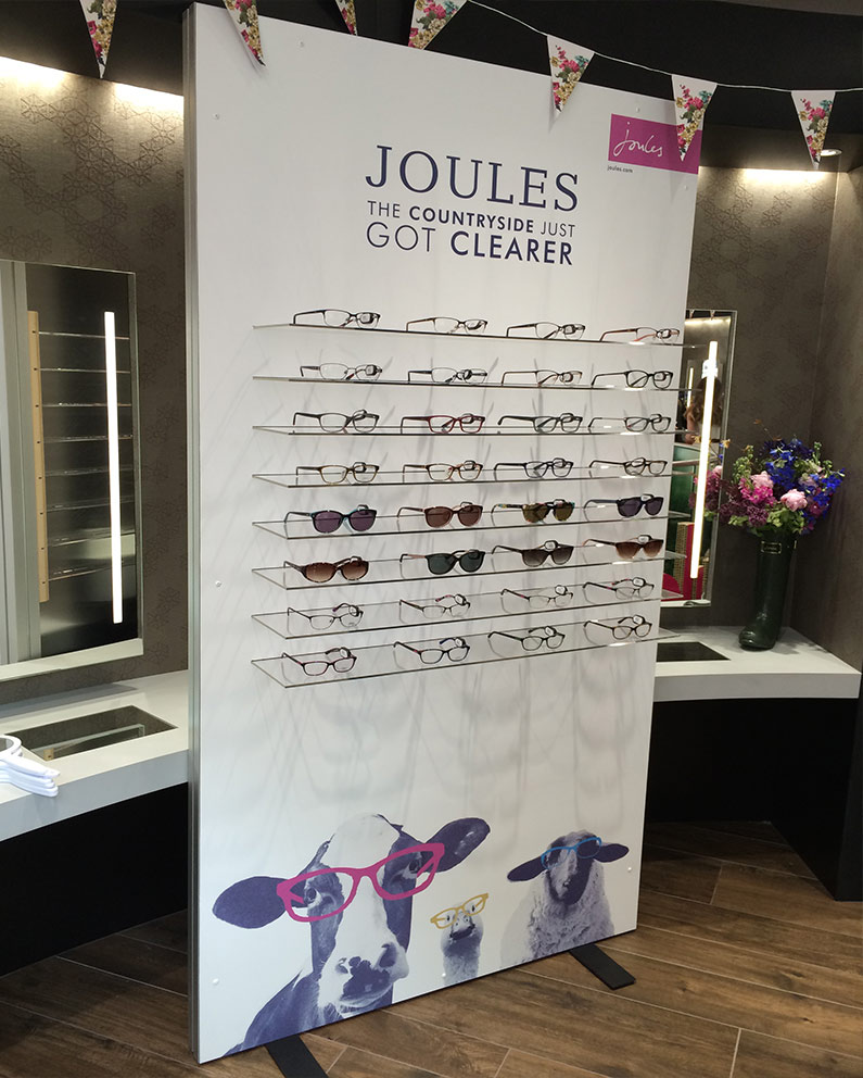 Joules free standing eyewear display