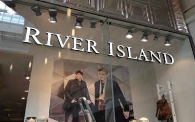 River Island Illuminated Logo Signage