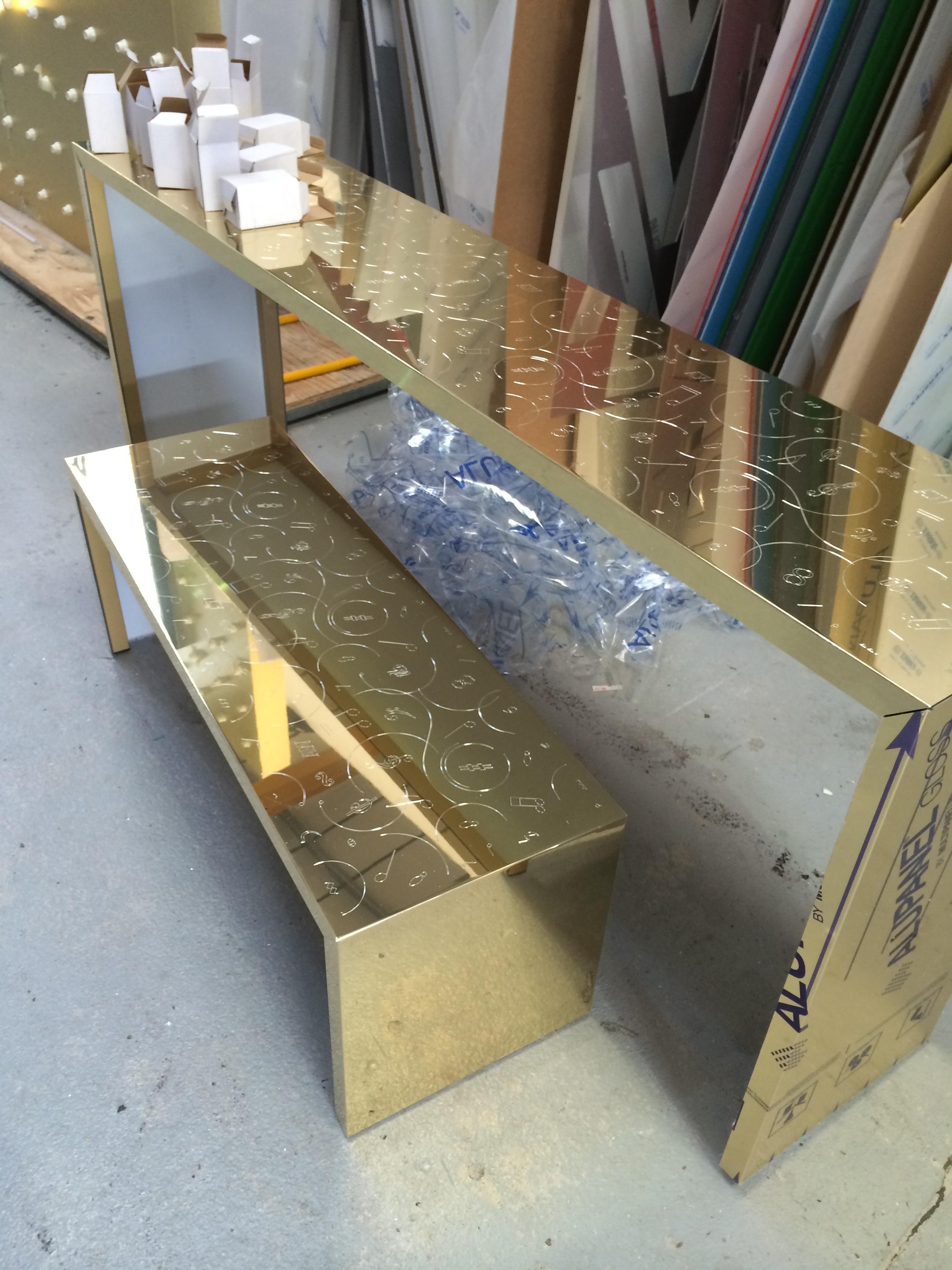 Engraved Dibond shelves