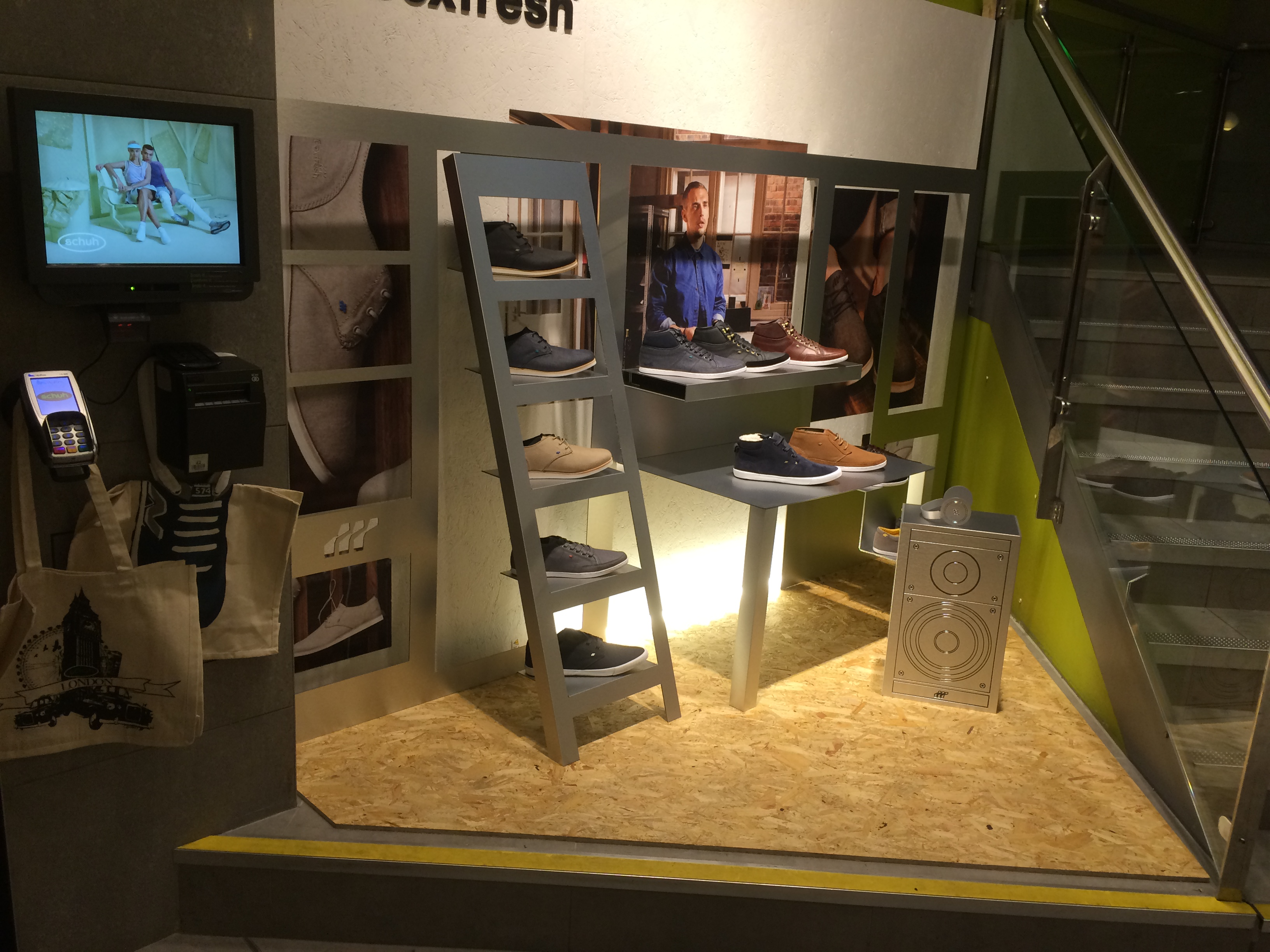 Boxfresh Footwear Display folded dibond and oriented strand board floor with LED backlighting.
