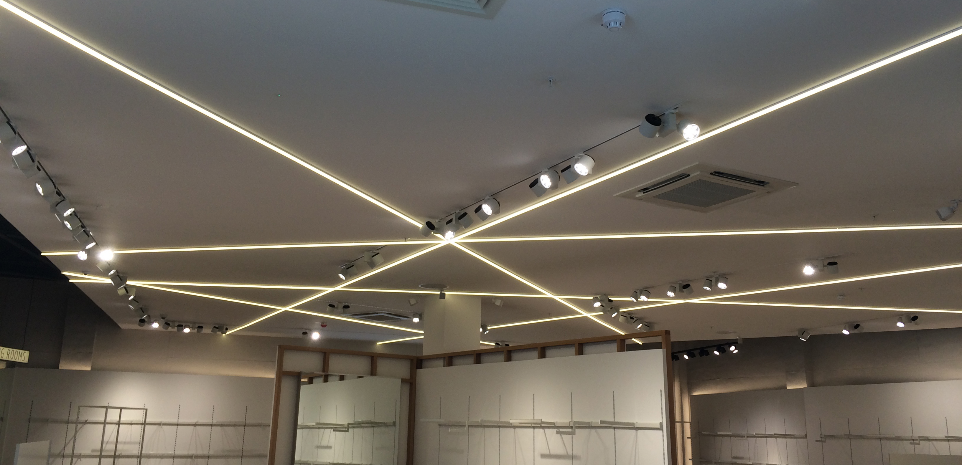 Custom made River Island illuminated LED suspended ceiling graphics
