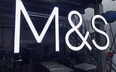 M&S LED Illuminated Signs on Acrylic Bars